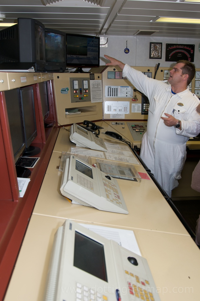 More engine control room on cruise ship