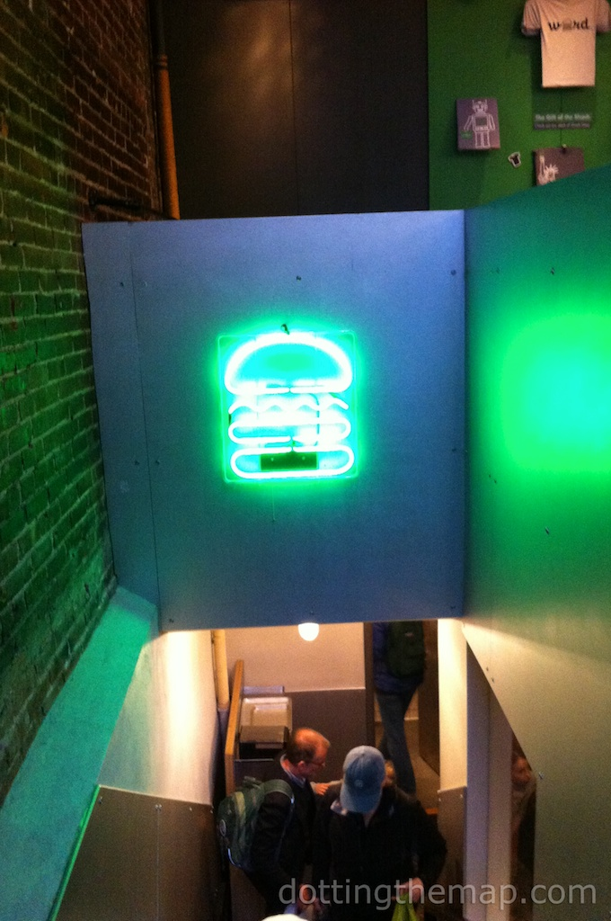 Neon burger sign at Shake Shack