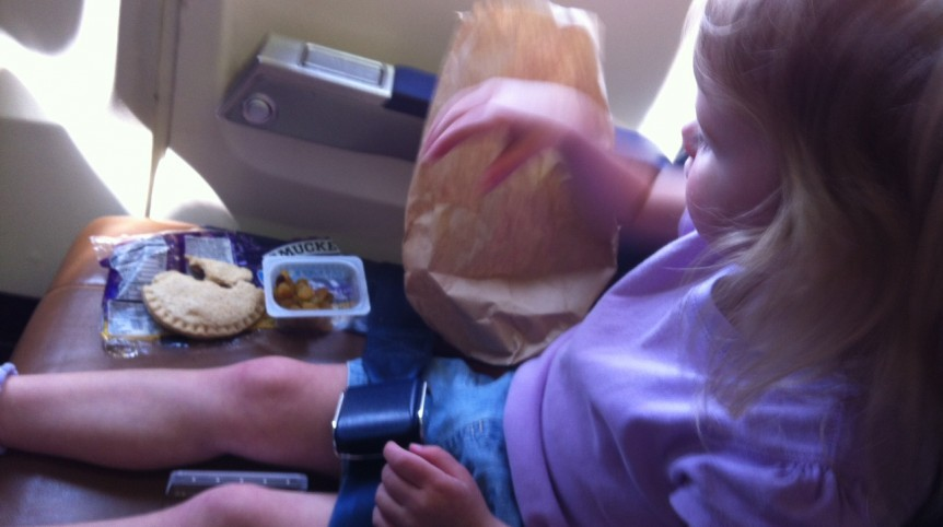 toddler airplane eating