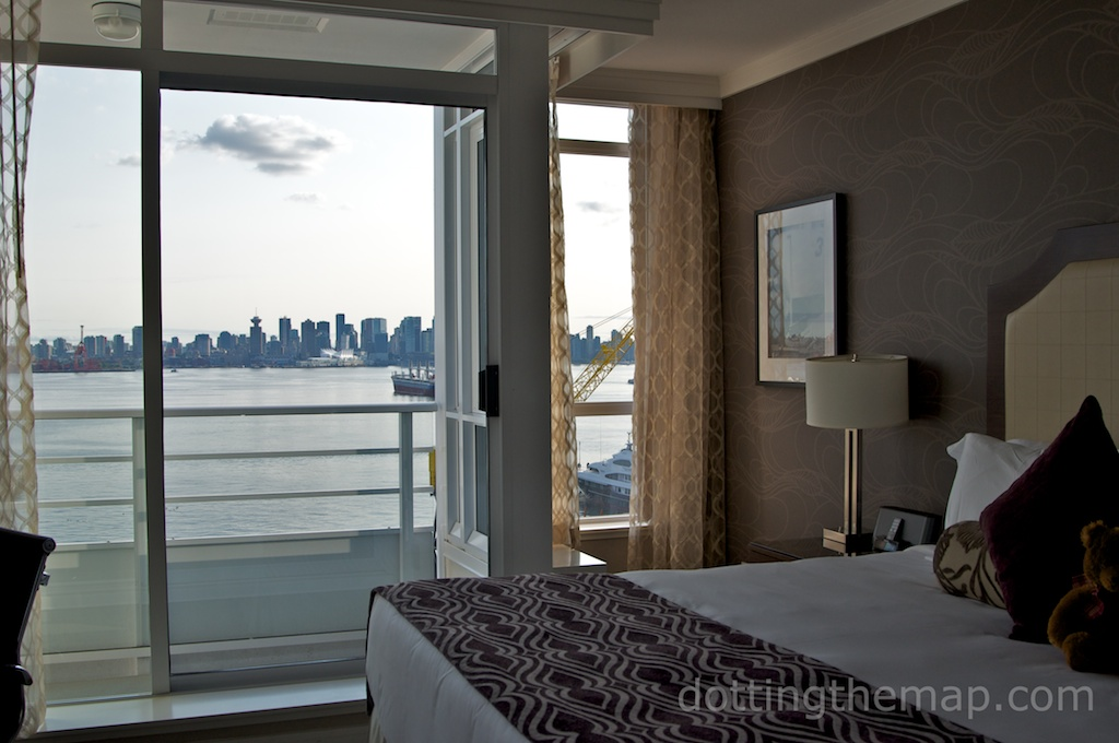 hotel room view at pinnacle at the pier Vancouver
