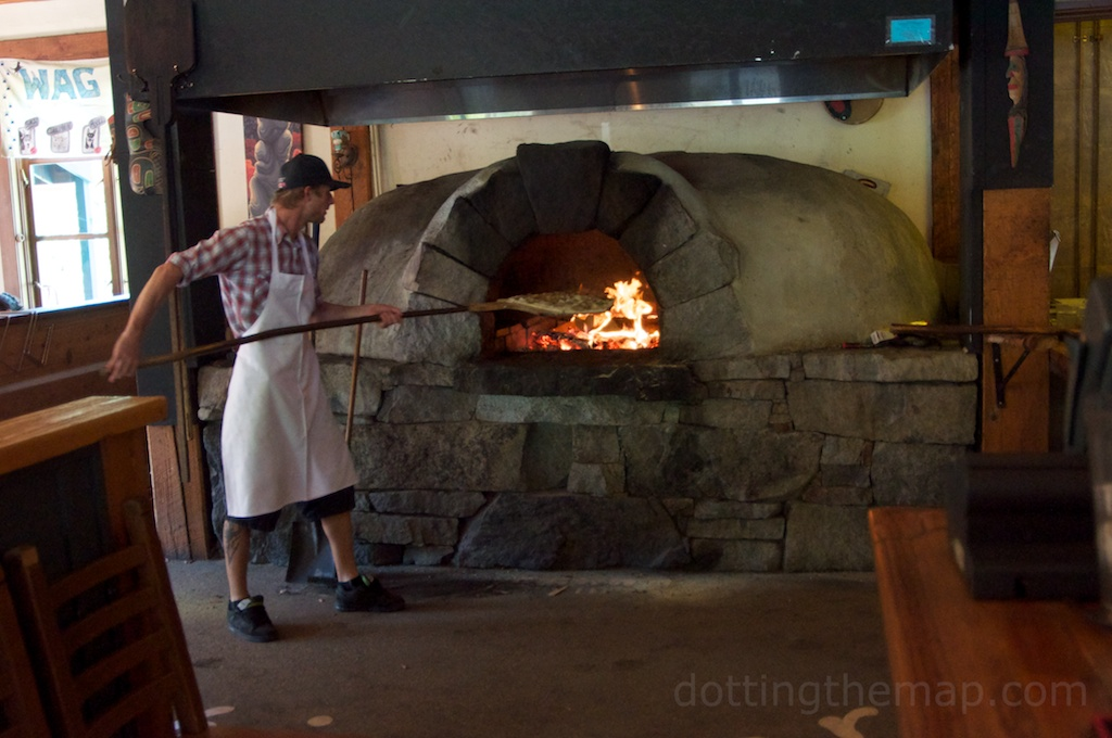 wood fire oven at Creekbread Pizza in Whistler