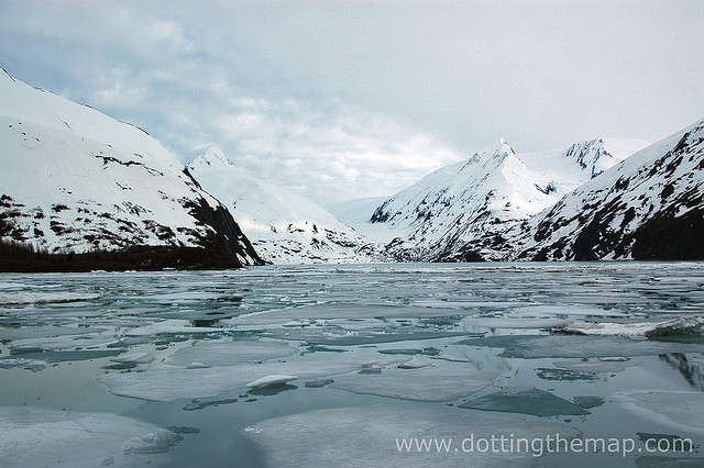 Beautiful lake of ice located between Anchorage and Seward, Alaska