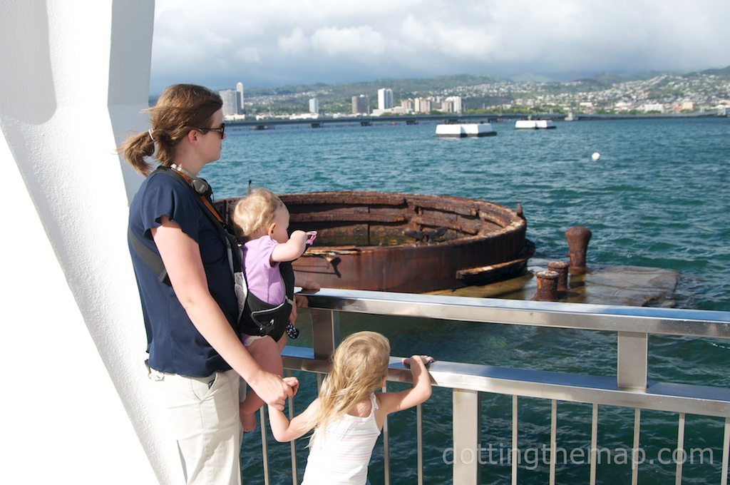 Hilarye and the girls look out over the USS Arizona at Pearl Harbor