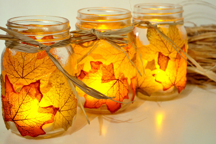 Leaf mason jar candle holder crafts