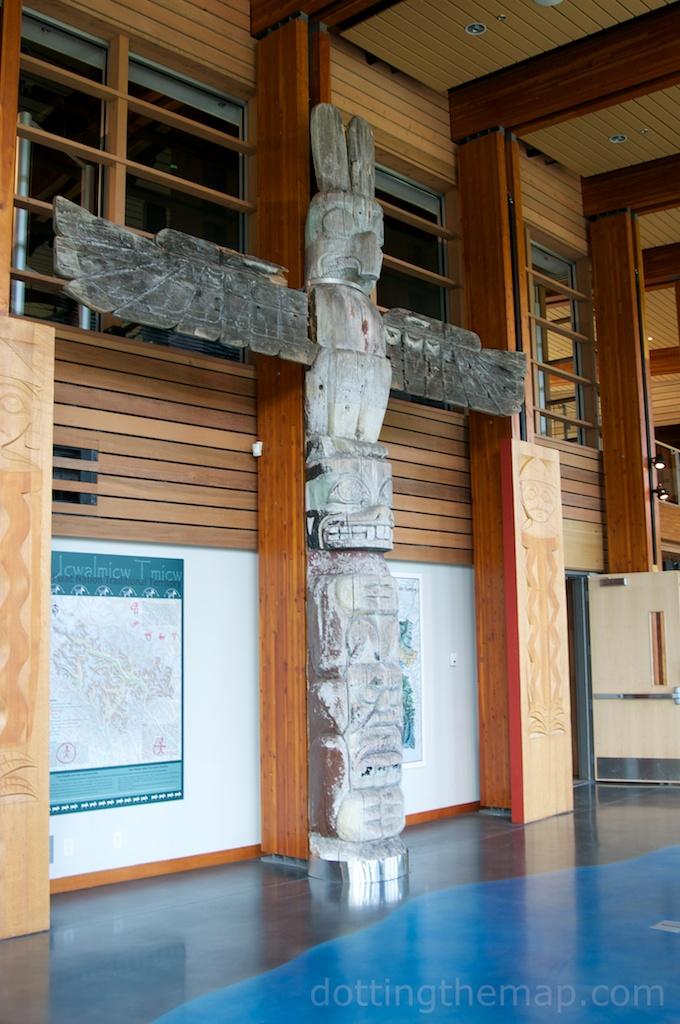 totem pole at Squamish Lil'wat Cultural Centre