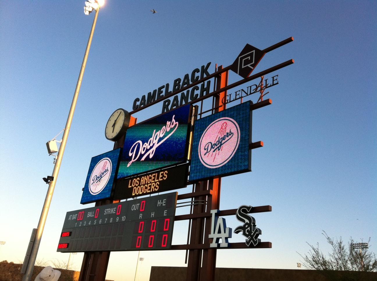 scoreboard at Camel Back Ranch