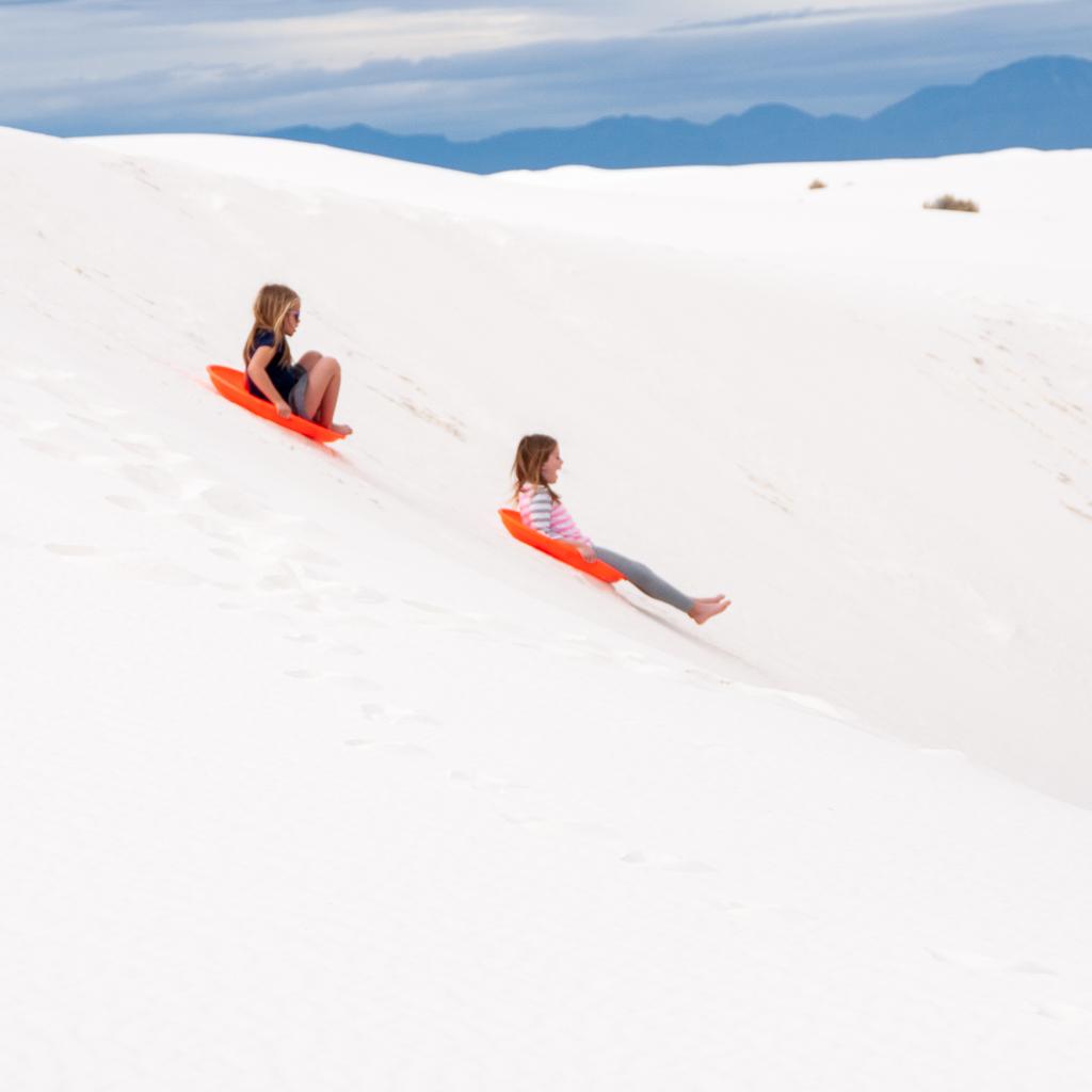white sands sledding